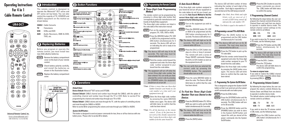 Universal Remote Control (URS) UR4-DCT User Manual | 2 pages