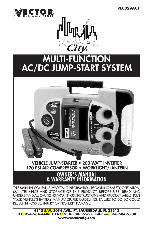 vector power city dk080706 user manual 20 pages also for power rh manualsdir com vector jump start system vec012c manual vector jump start system manual