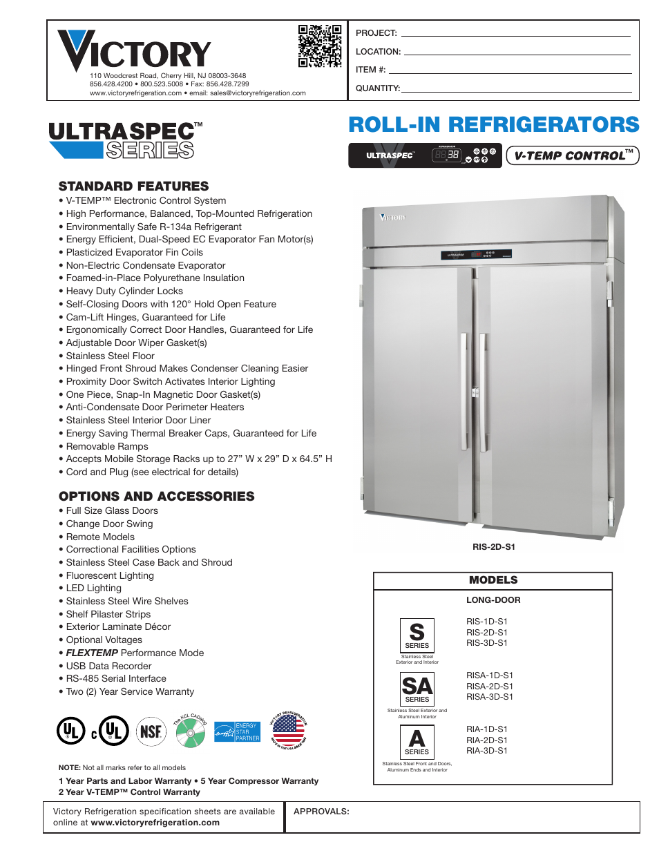 Victory Refrigeration Ria 2d S7 User Manual 2 Pages