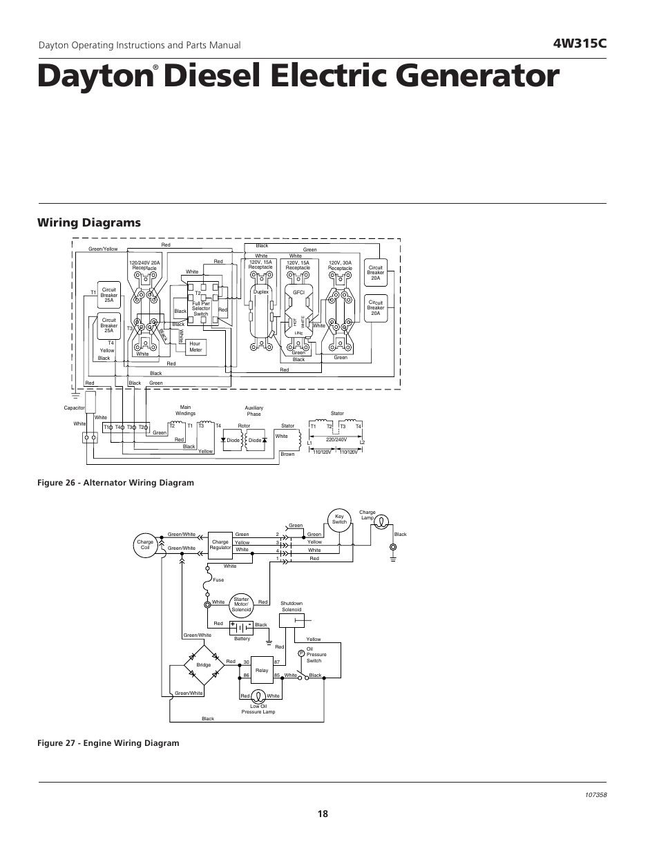 dayton diesel electric generator, 4w315c, wiring diagrams | dayton  operating instructions and parts manual