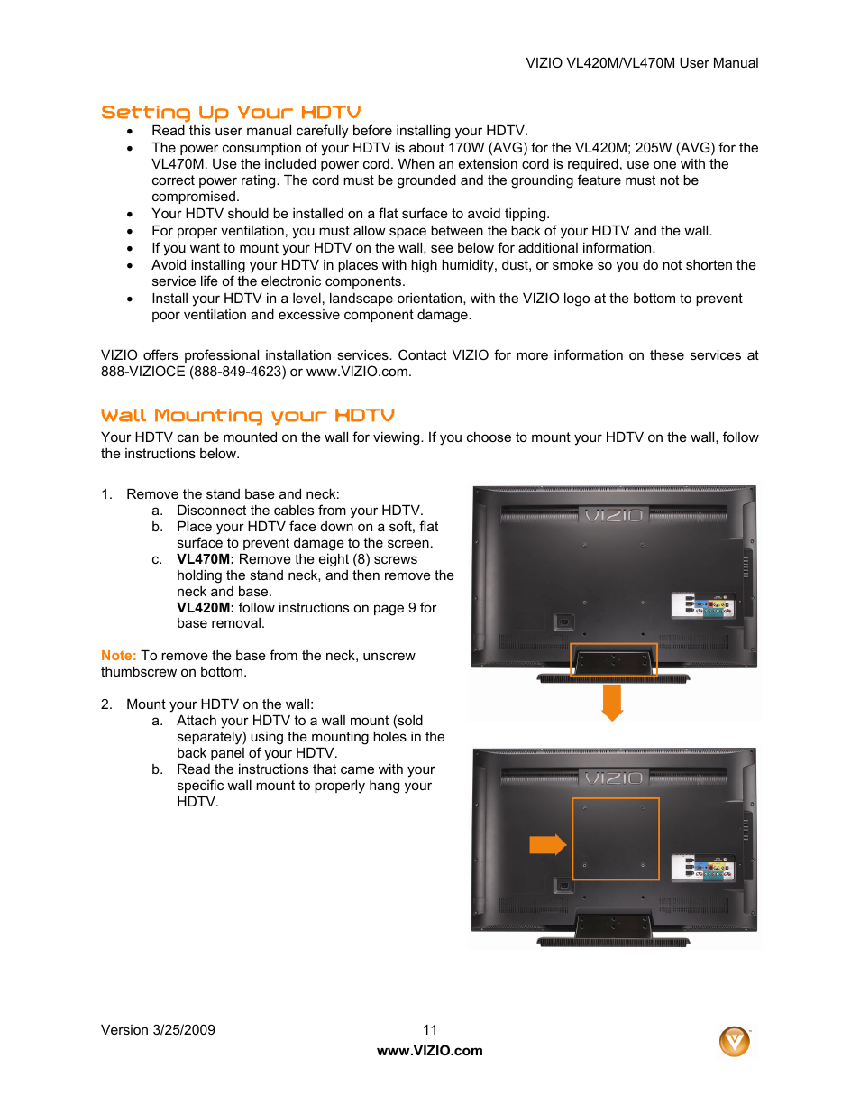 Vizio vl470m manual daily instruction manual guides setting up your hdtv wall mounting your hdtv vizio vl470m user rh manualsdir com vizio m series remote vizio base mounting screws fandeluxe Image collections