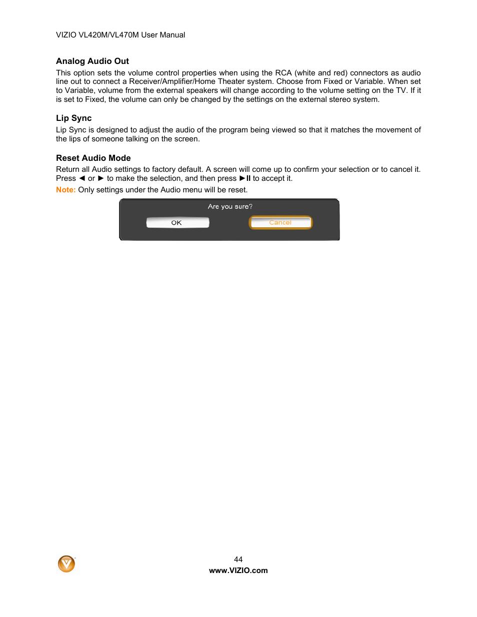 Vizio VL470M User Manual   Page 44 / 64