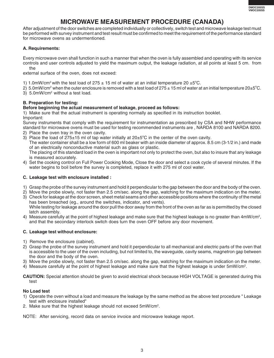 Microwave Measurement Procedure Canada Viking Dmoc205ss User Manual Page 5 48