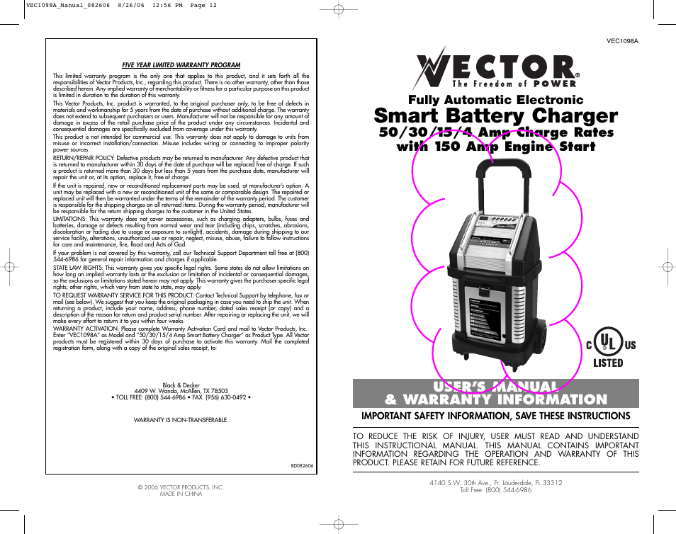 Vector Vec1098a User Manual 8 Pages