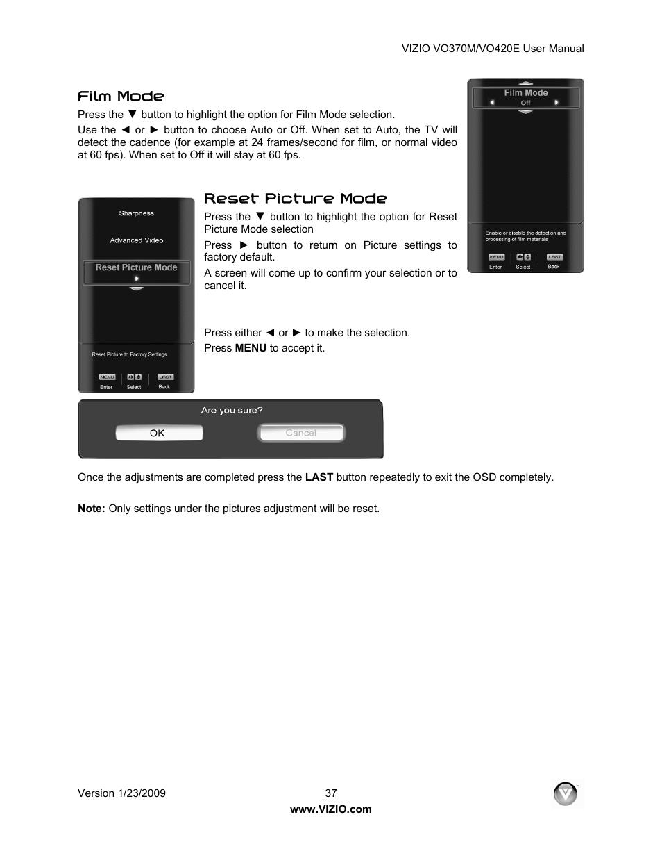 """film mode reset picture mode vizio vo420e user manual page 37 67 rh manualsdir com Vizio VO420E Specs Vizio 42"""" LCD"""