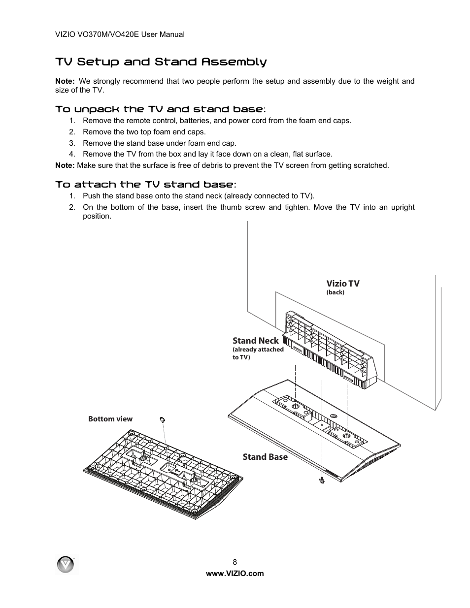 tv setup and stand assembly vizio vo420e user manual page 8 67 rh manualsdir com Walmart Vizio 42 Vizio VO420E Specs