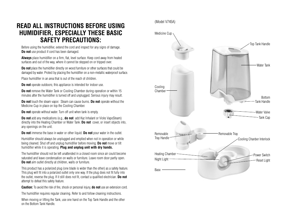 Vicks, Warm mist humidifier   Vicks V745A User Manual   Page 2 / 5