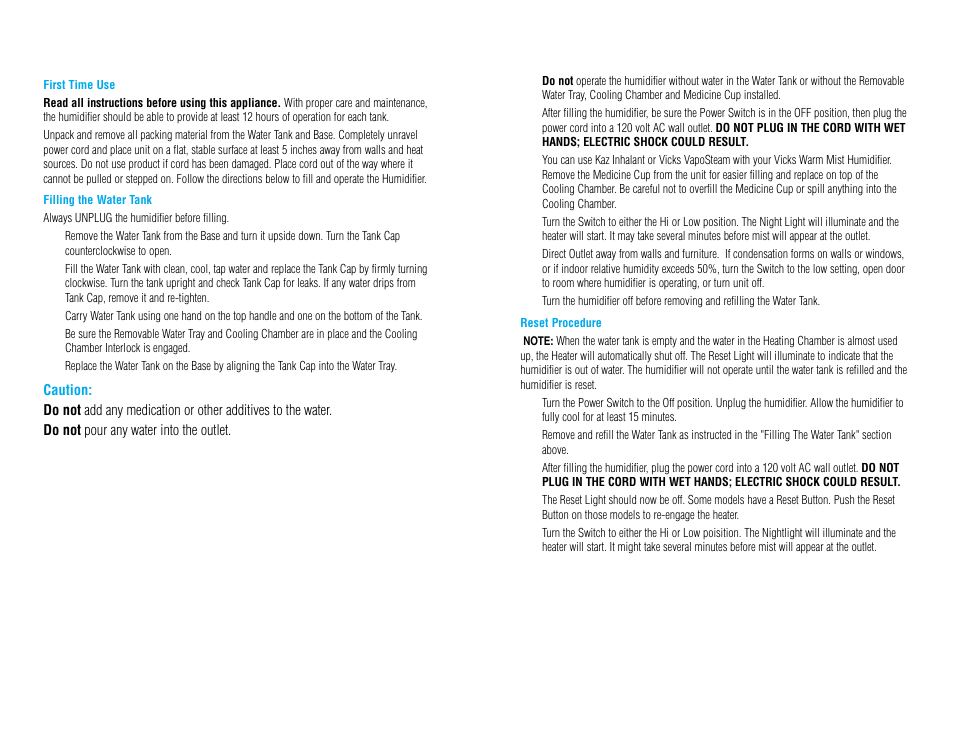 Operating instructions, Using your vicks warm mist humidifier   Vicks V745A User  Manual   Page 3 / 5