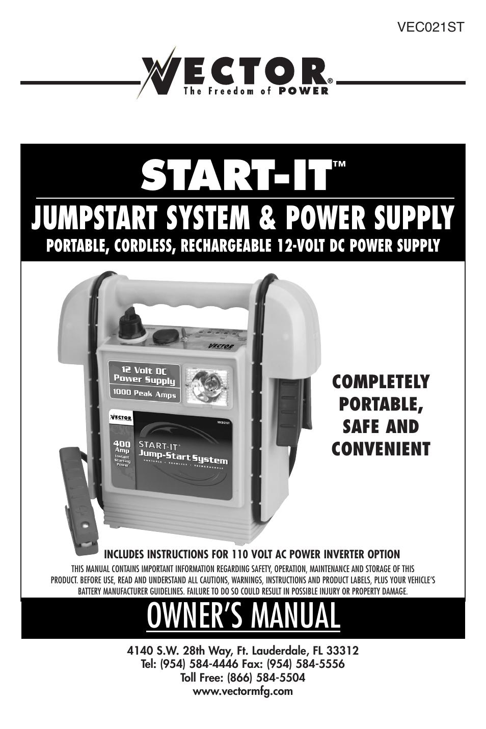 vector vec021st user manual 16 pages rh manualsdir com Vector Jump Starter Parts for Vector Jump Starter veco10s
