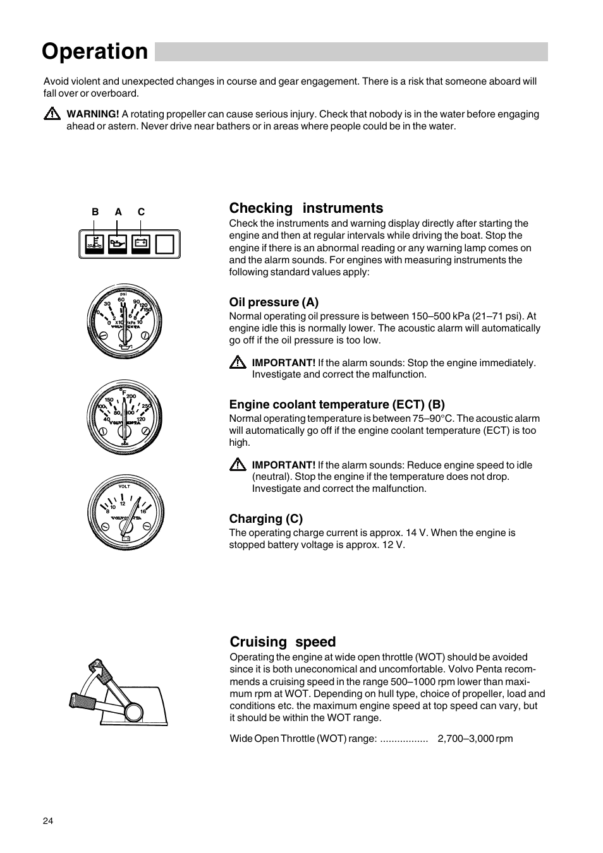 Operation, Checking instruments, Cruising speed | Volvo Penta D2-75 User  Manual |