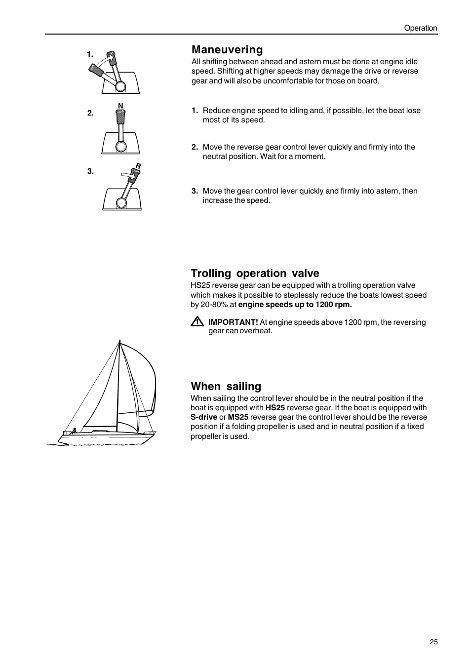 Maneuvering, When sailing, Trolling operation valve | Volvo