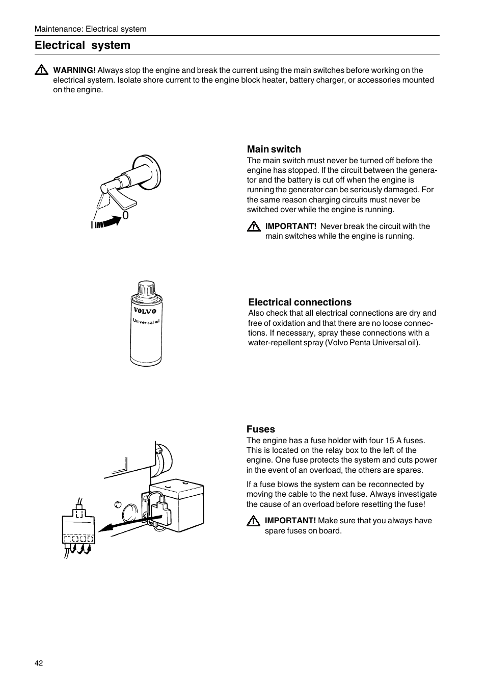 Electrical system | Volvo Penta D2-75 User Manual | Page 44 / 68