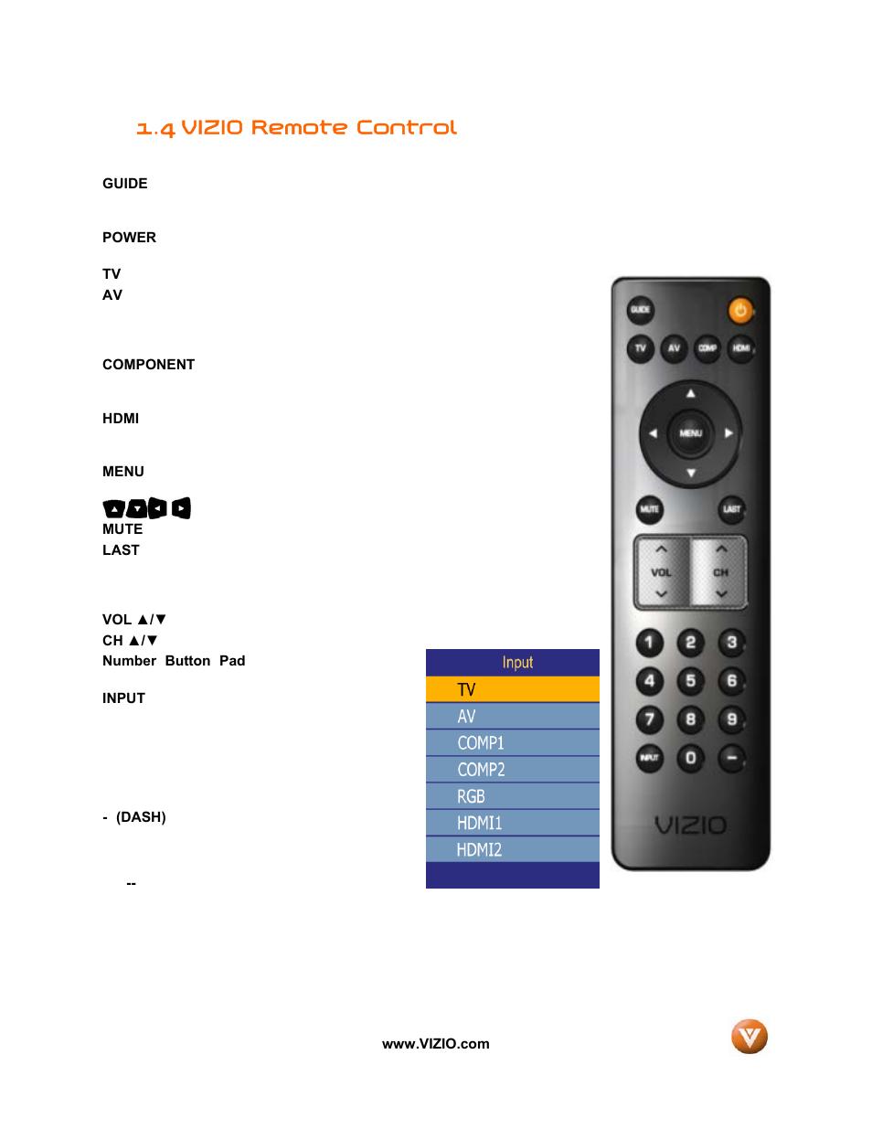 4 vizio remote control vizio vw32l user manual page 11 70 rh manualsdir com Vizio VW32L 40A Vizio VW26L