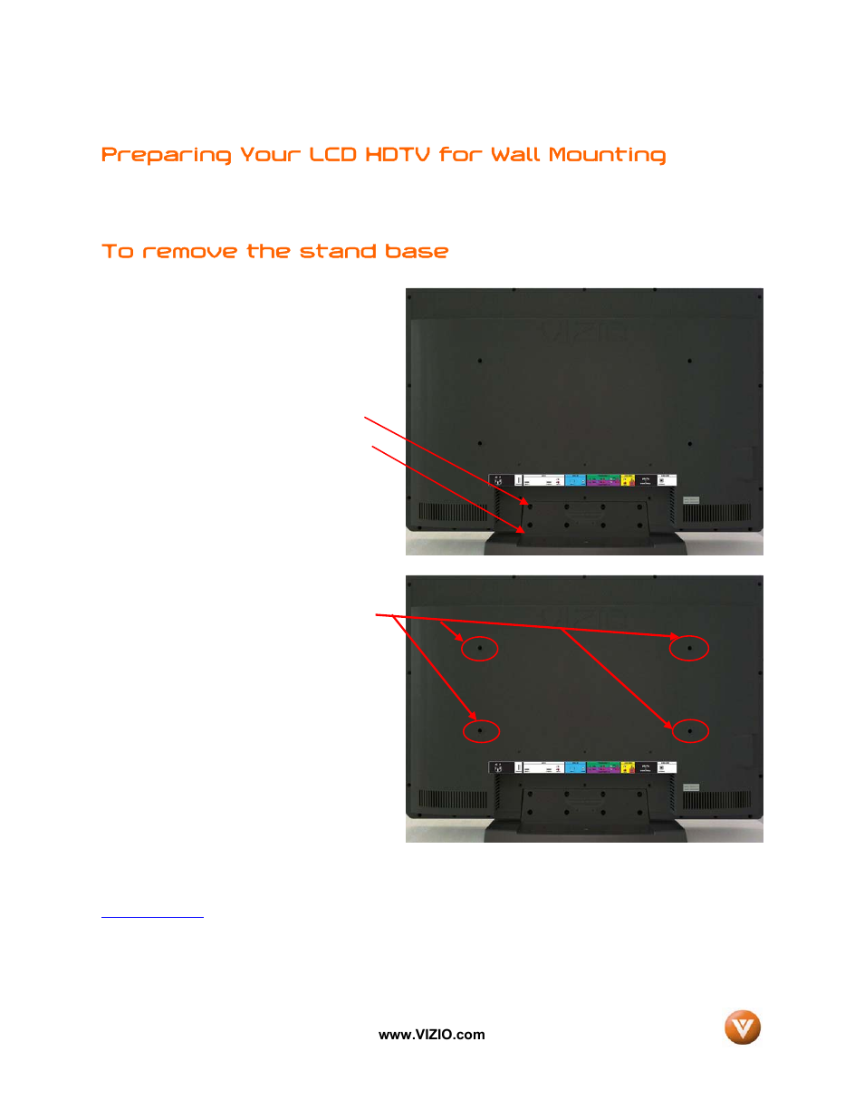 preparing your lcd hdtv for wall mounting vizio vw32l user manual rh manualsdir com vizio vw32l hdtv20a user manual Vizio VW32L No