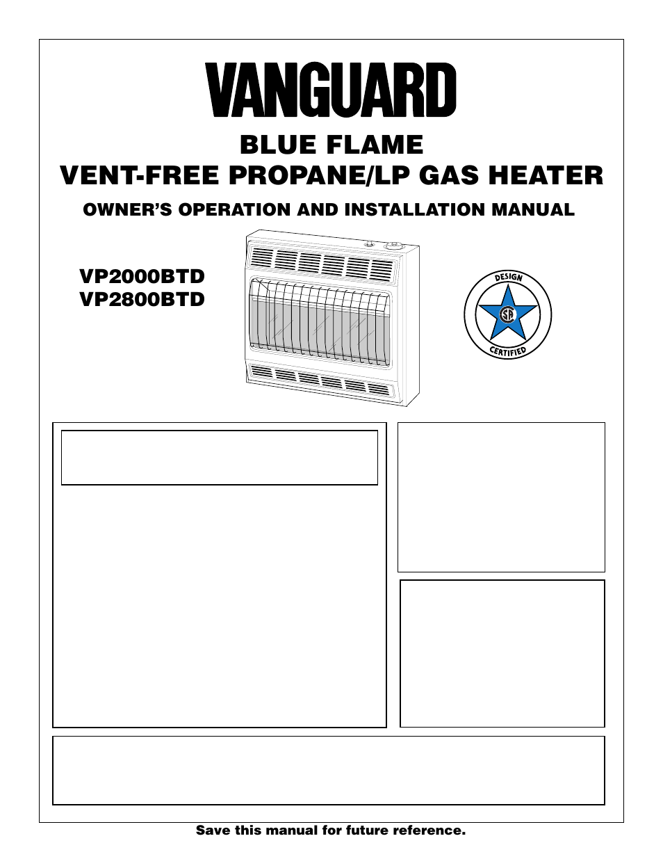 vanguard heating vp2000btd user manual 20 pages also for vp2800btd