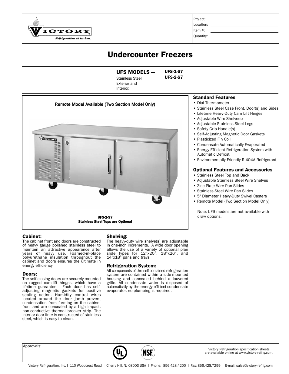 victory refrigeration ufs 2 s7 user manual 2 pages also for ufs