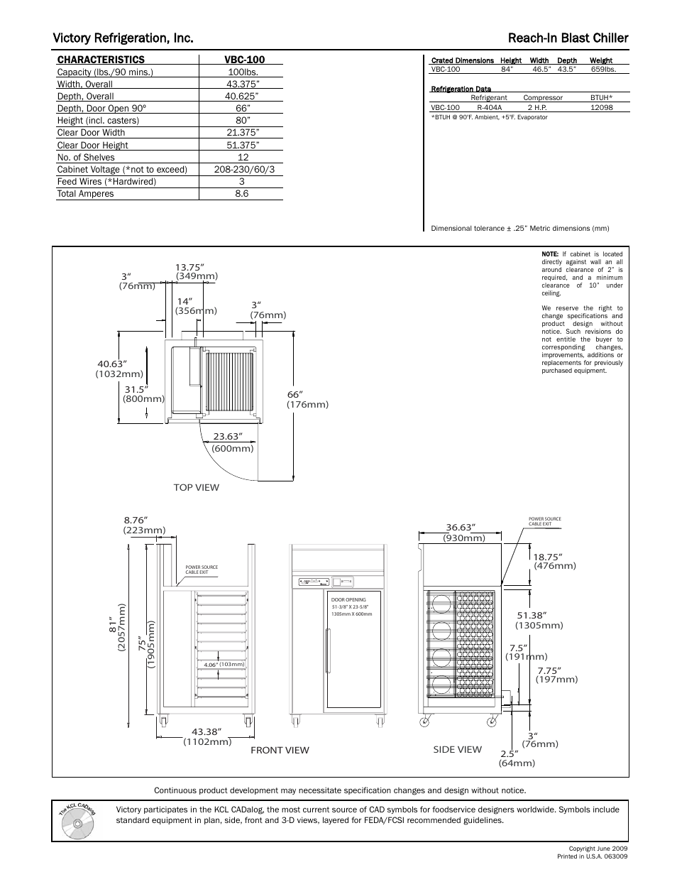Victory refrigeration, inc. reach-in blast chiller | Victory Refrigeration  VBC-100 User Manual | Page 2 / 2