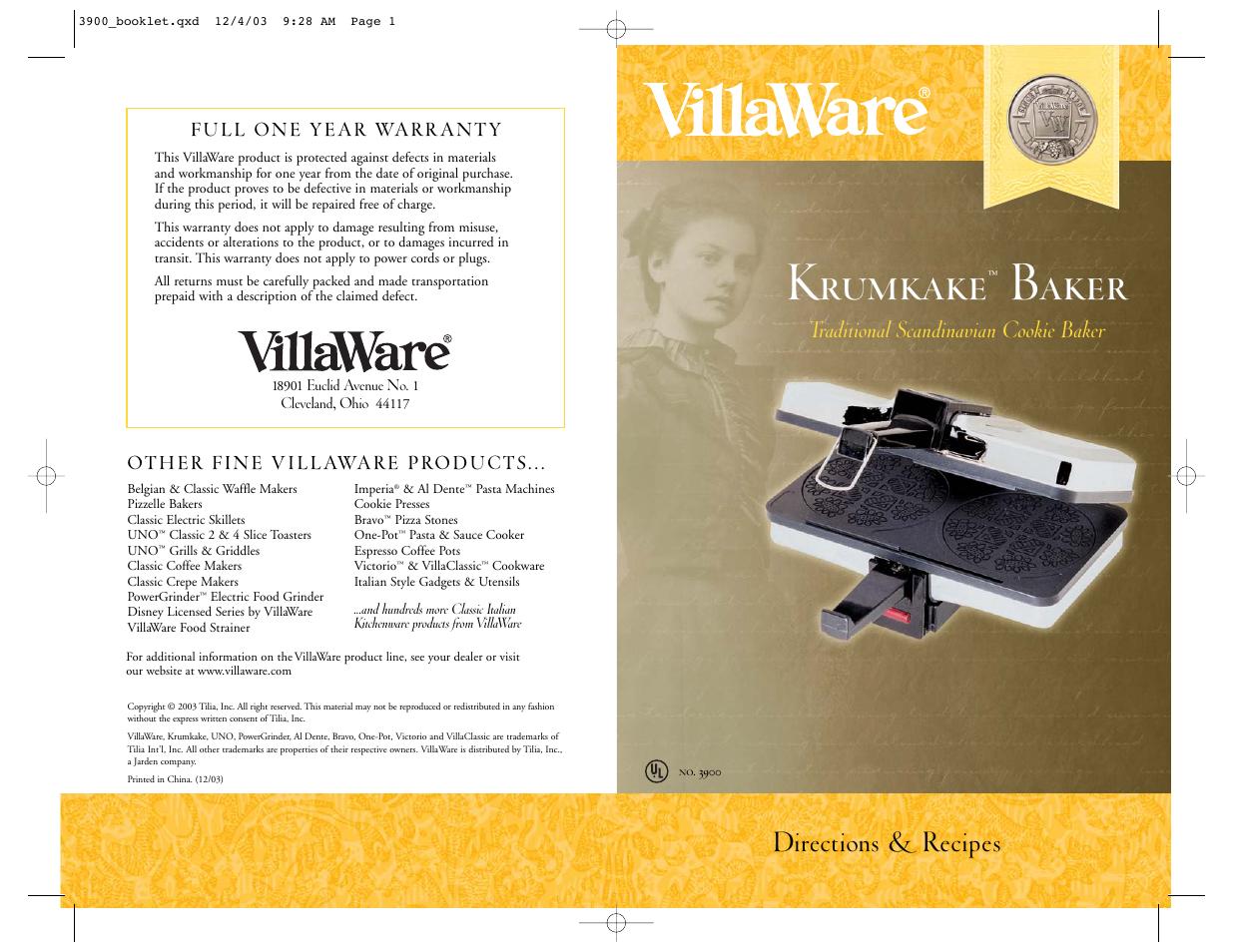 Villaware Coffee Maker Manual : Villaware 3900 User Manual 3 pages