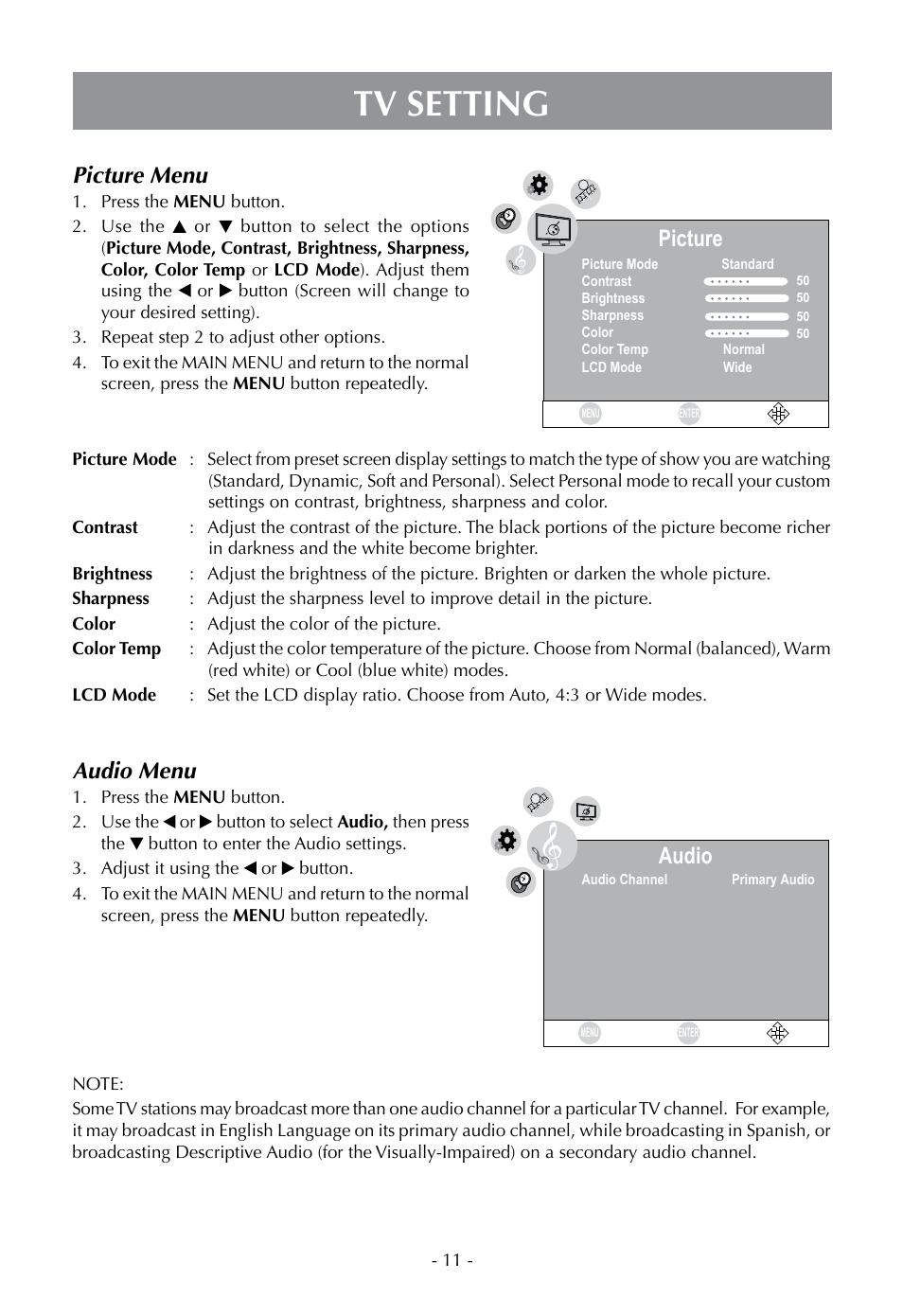 tv setting picture menu audio menu venturer plv16070 user manual rh manualsdir com Polaroid 3200 LCD TV Manual Polaroid 3200 LCD TV Manual