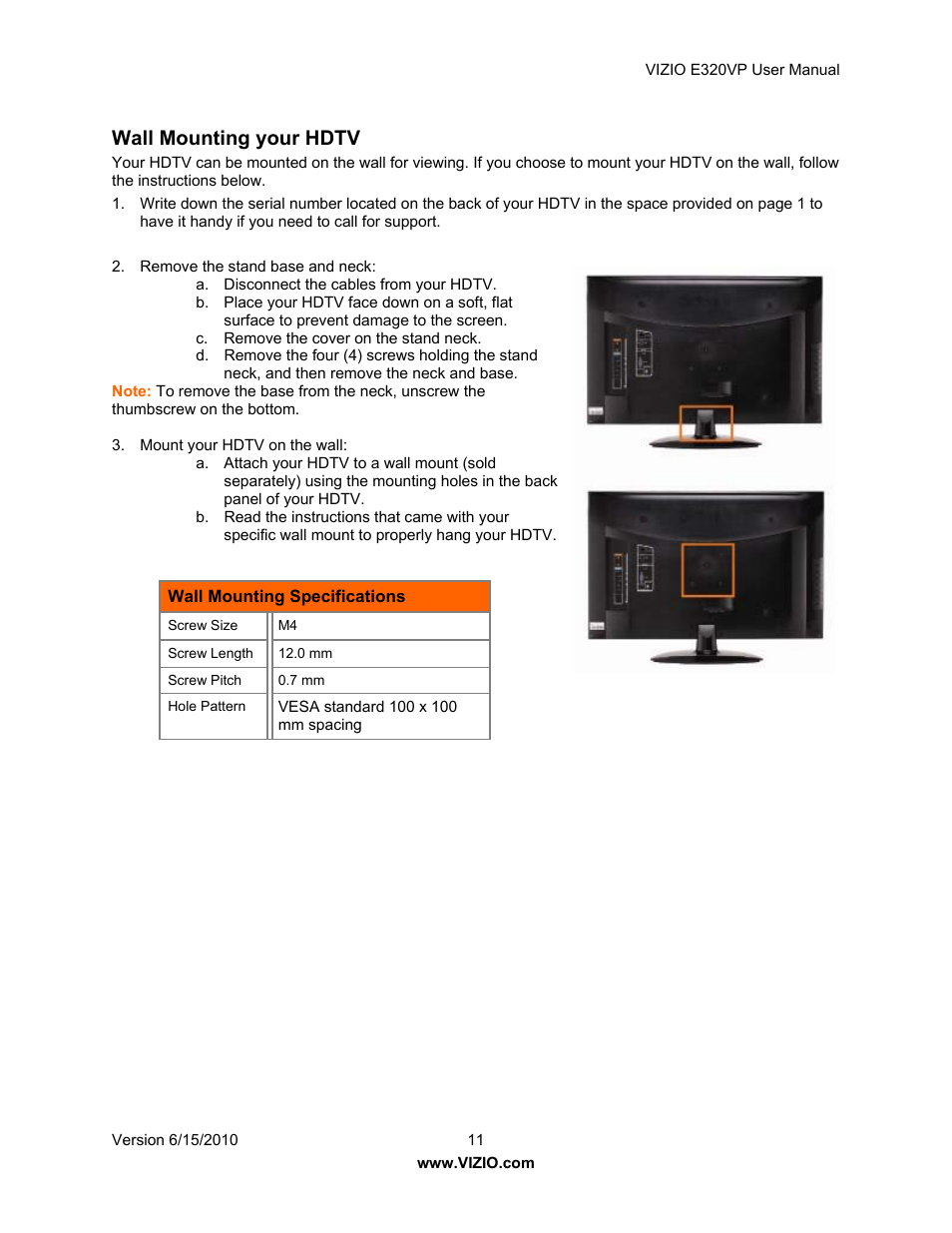 wall mounting your hdtv vizio e320vp user manual page 11 50 rh manualsdir com Vizio TV Models 2010 Recertified Vizio LED HDTVs