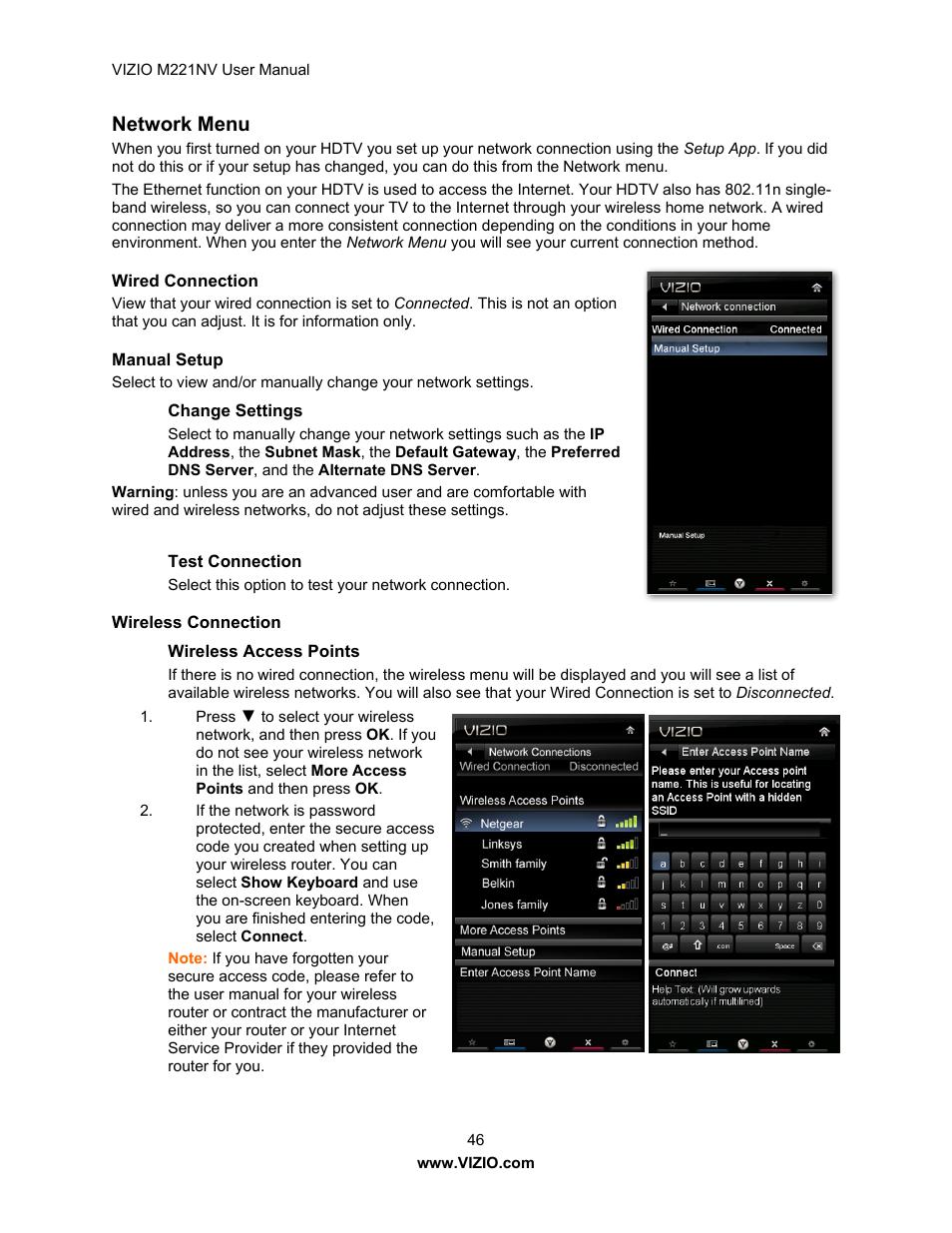 Network menu | Vizio M221NV User Manual | Page 46 / 60
