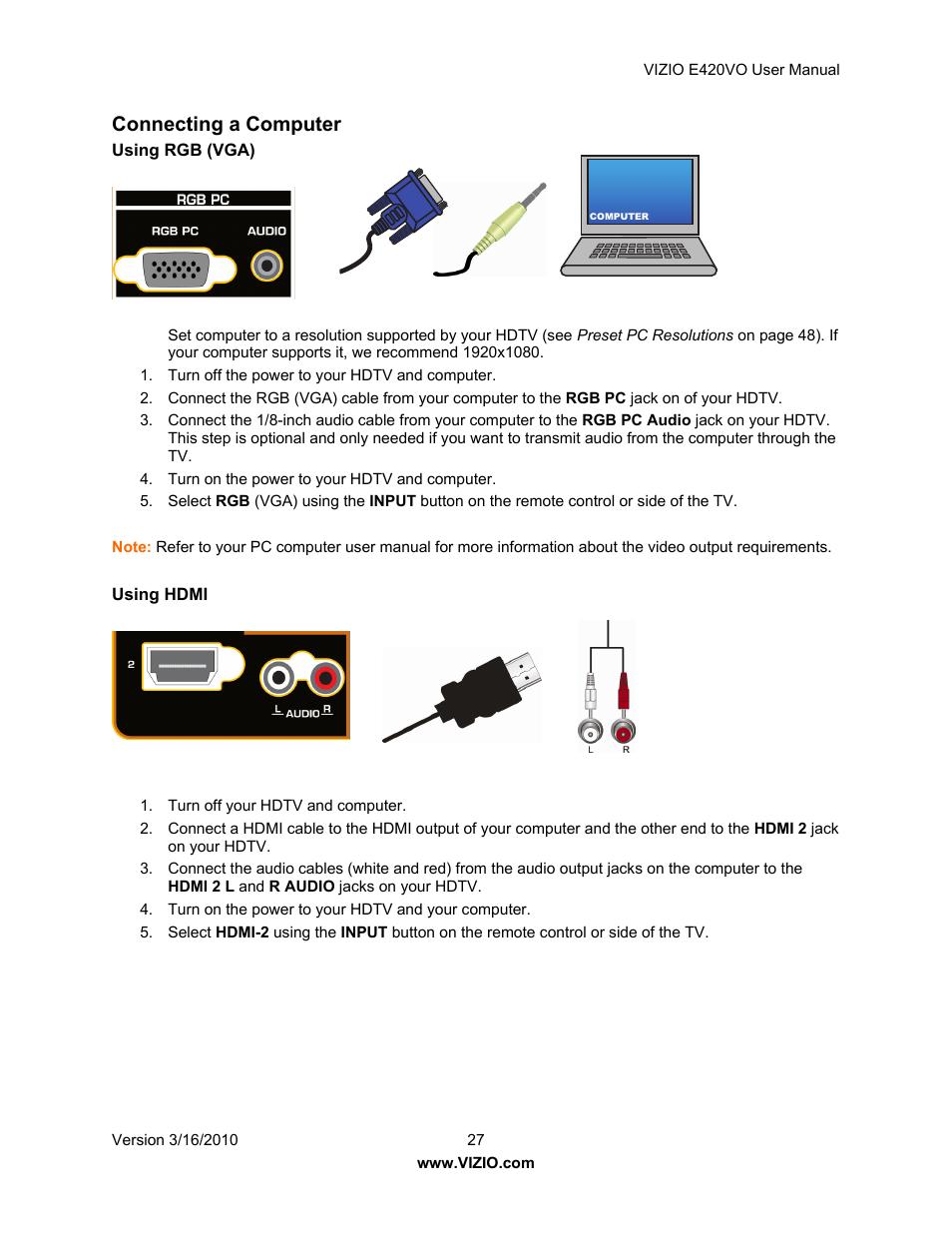 connecting a computer vizio e420vo user manual page 27 52 rh manualsdir com Vizio E420 Vizio E420VO Server