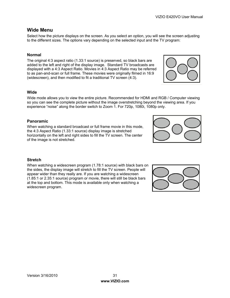 wide menu vizio e420vo user manual page 31 52 rh manualsdir com Vizio E420VO Settings Vizio E420VO Server