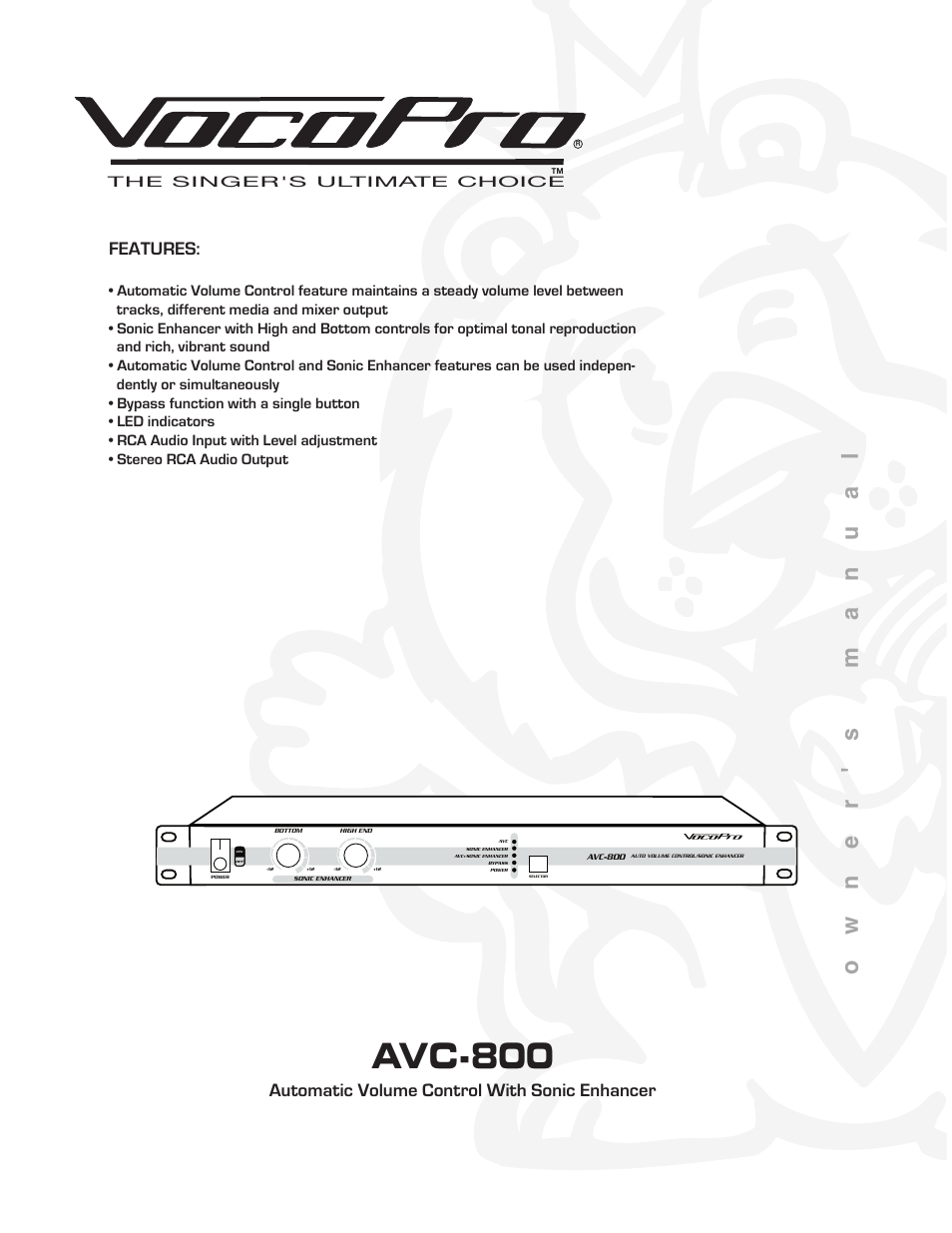 VocoPro AUTOMATIC VOLUME CONTROL AVC-800 User Manual   14 pages