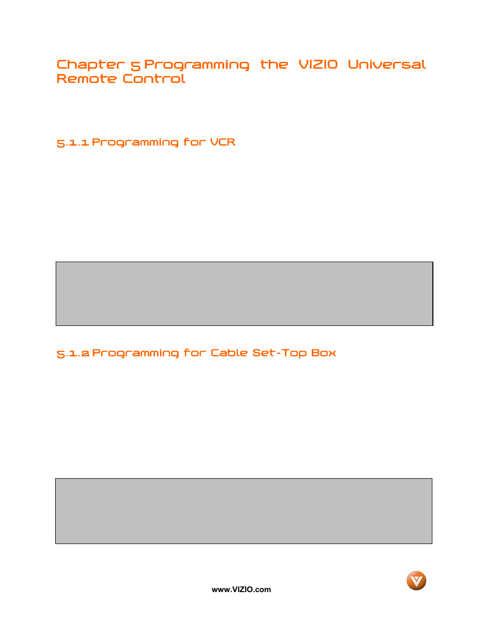 1 programming for vcr, 2 programming for cable set-top box | Vizio