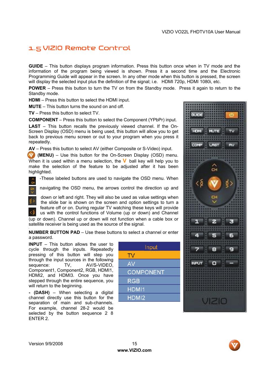 5 vizio remote control vizio vo22l user manual page 15 72 rh manualsdir com Vizio Remote Control Guides Vizio Schematics