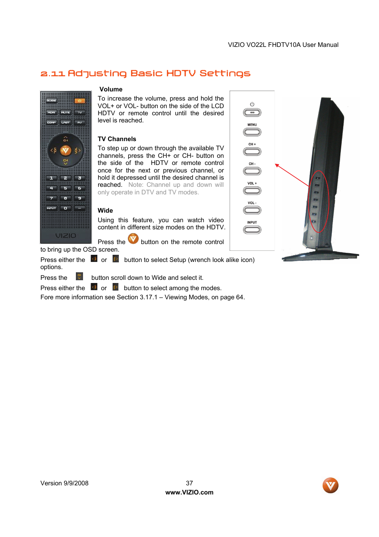 11 adjusting basic hdtv settings vizio vo22l user manual page 37 rh manualsdir com Vizio Owners ManualDownload Vizio Remote Control User Manual
