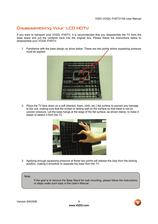 disassembling your lcd hdtv vizio vo22l user manual page 9 72 rh manualsdir com Vizio Remote User Manual Vizio Schematics
