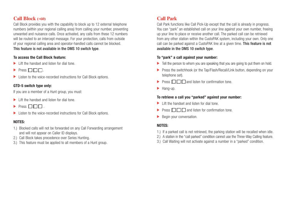 Call park, Call block | Verizon CustoPAK User Manual | Page