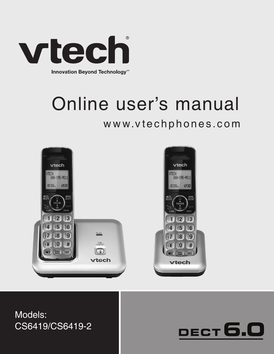 vtech dect cs6419 2 user manual 62 pages also for dect cs6419 rh manualsdir com VTech 6.0 Cordless Phone Manual Instruction Manual for VTech Phone
