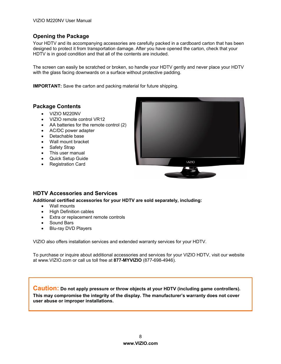 Caution | Vizio M220NV User Manual | Page 8 / 58 | Original mode