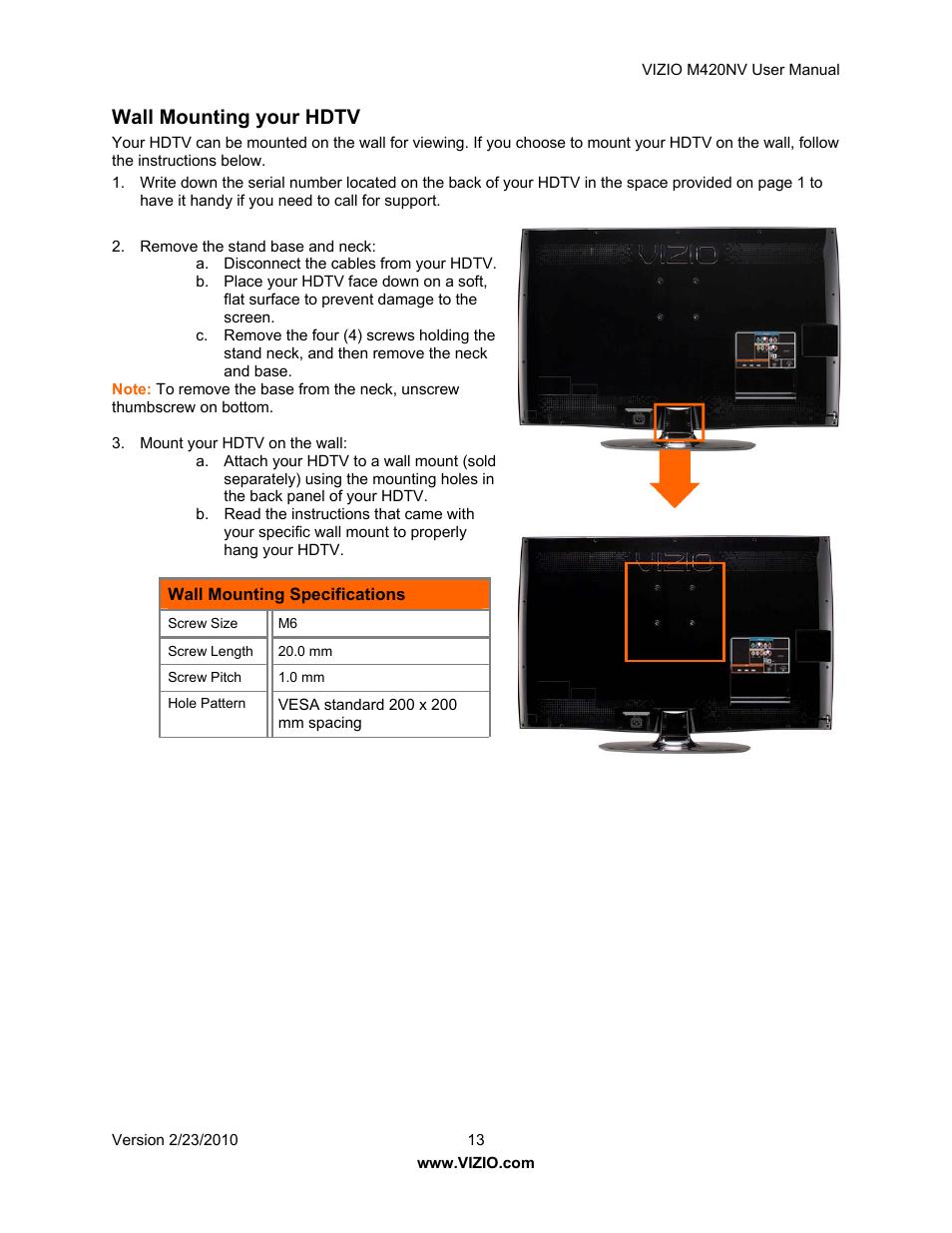 wall mounting your hdtv vizio m420nv user manual page 13 78 rh manualsdir com Vizio M420NV Power Button Vizio M420NV Problems