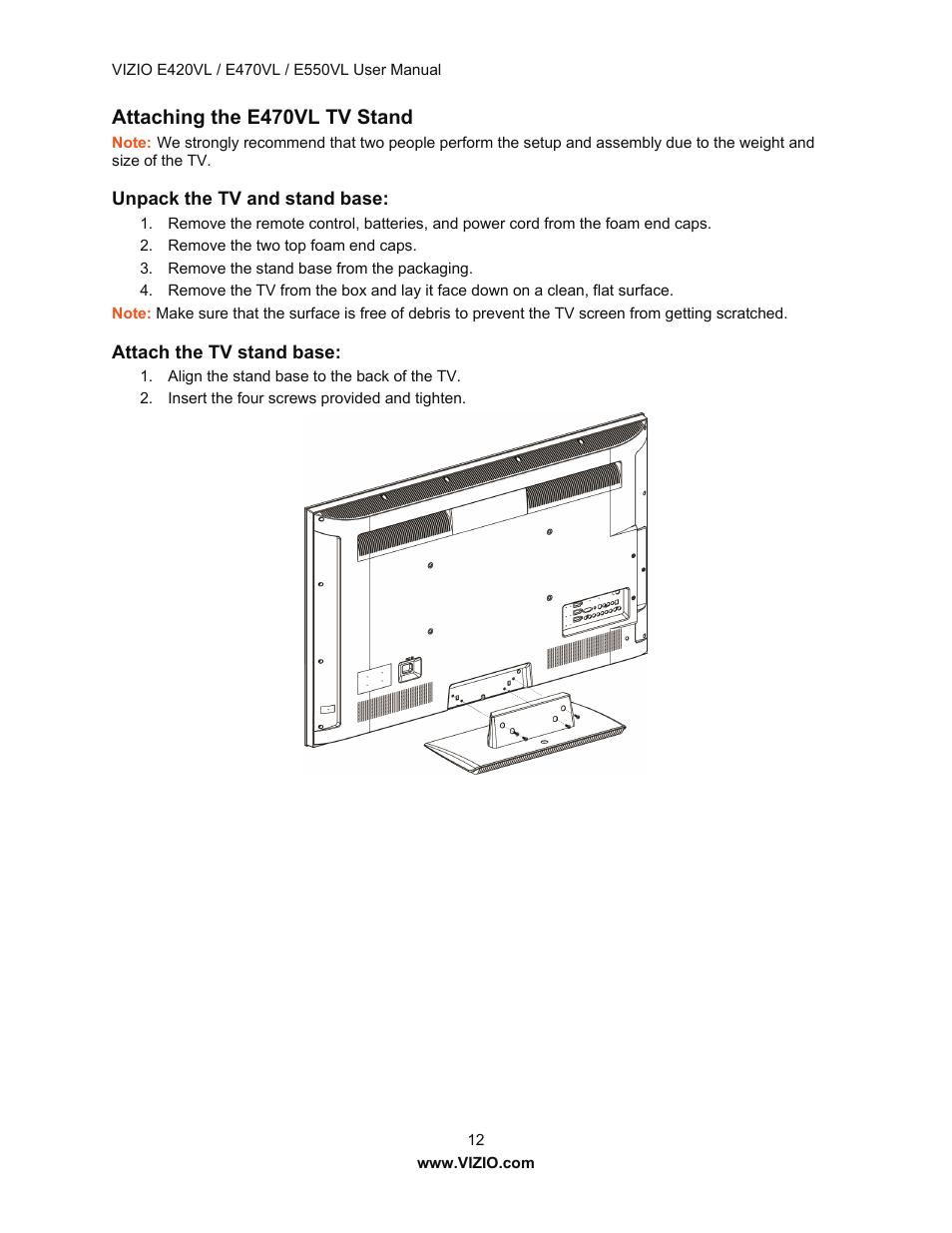 Attaching the e470vl tv stand | Vizio E550VL User Manual | Page 12