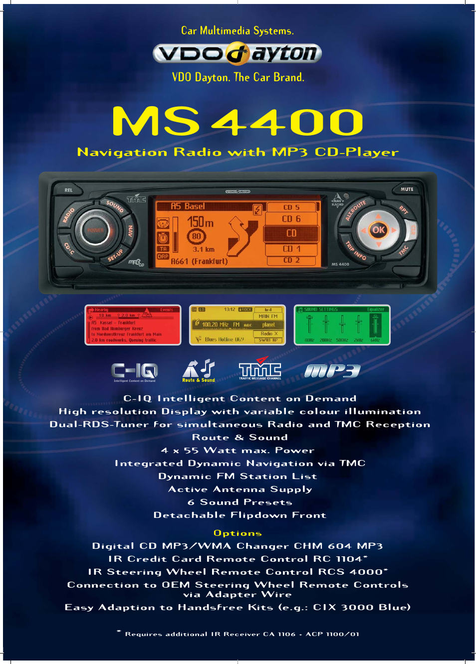 VDO Dayton Car Multimedia Systems MS4400 User Manual 2 pages