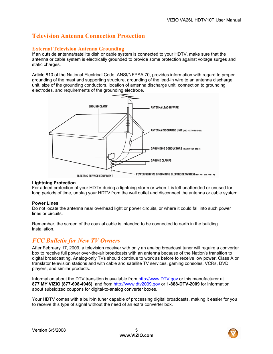 Television Antenna Connection Protection Fcc Bulletin For New Tv House Wiring Diagram Owners Vizio Va26l User Manual Page 4 70