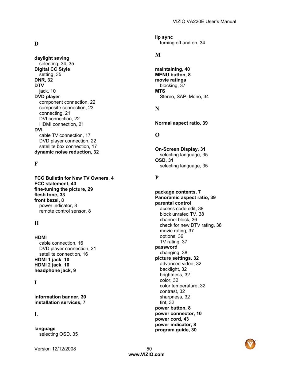 Vizio VA220E User Manual | Page 50 / 52