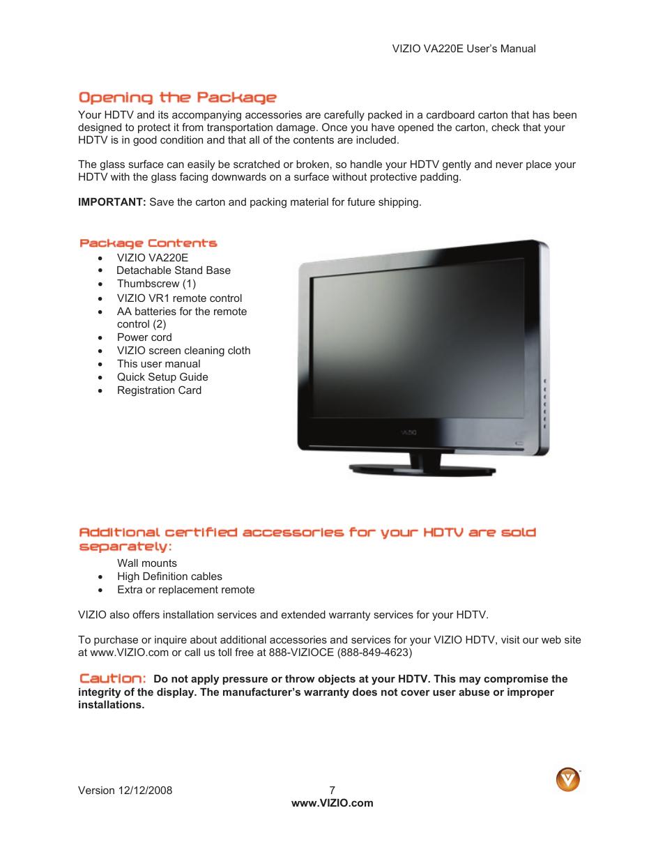 vizio va220e user manual page 7 52 original mode rh manualsdir com Vizio TV Dimensions Vizio TV Service Manuals