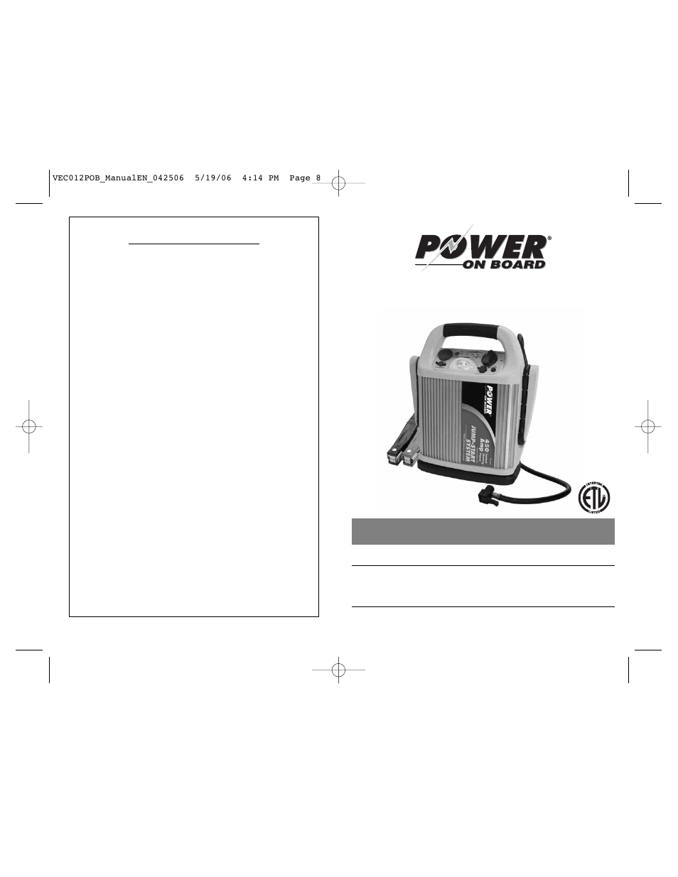 Vector power on board vec012pob user manual 6 pages for Vector canape user manual