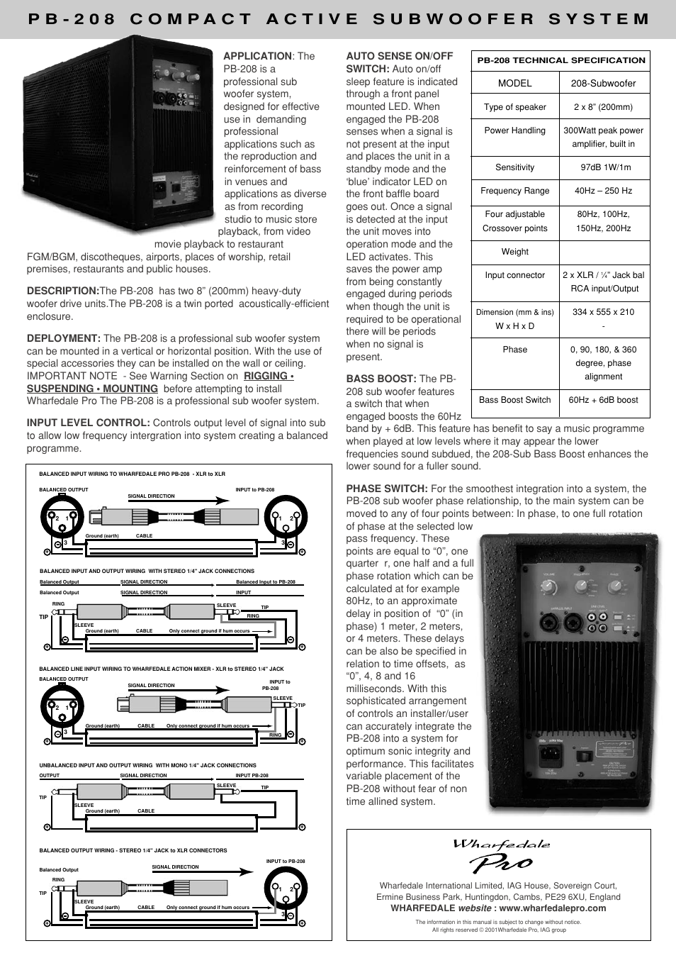 Model Subwoofer Wharfedale Pb 208 User Manual Page 2 P B Wiring