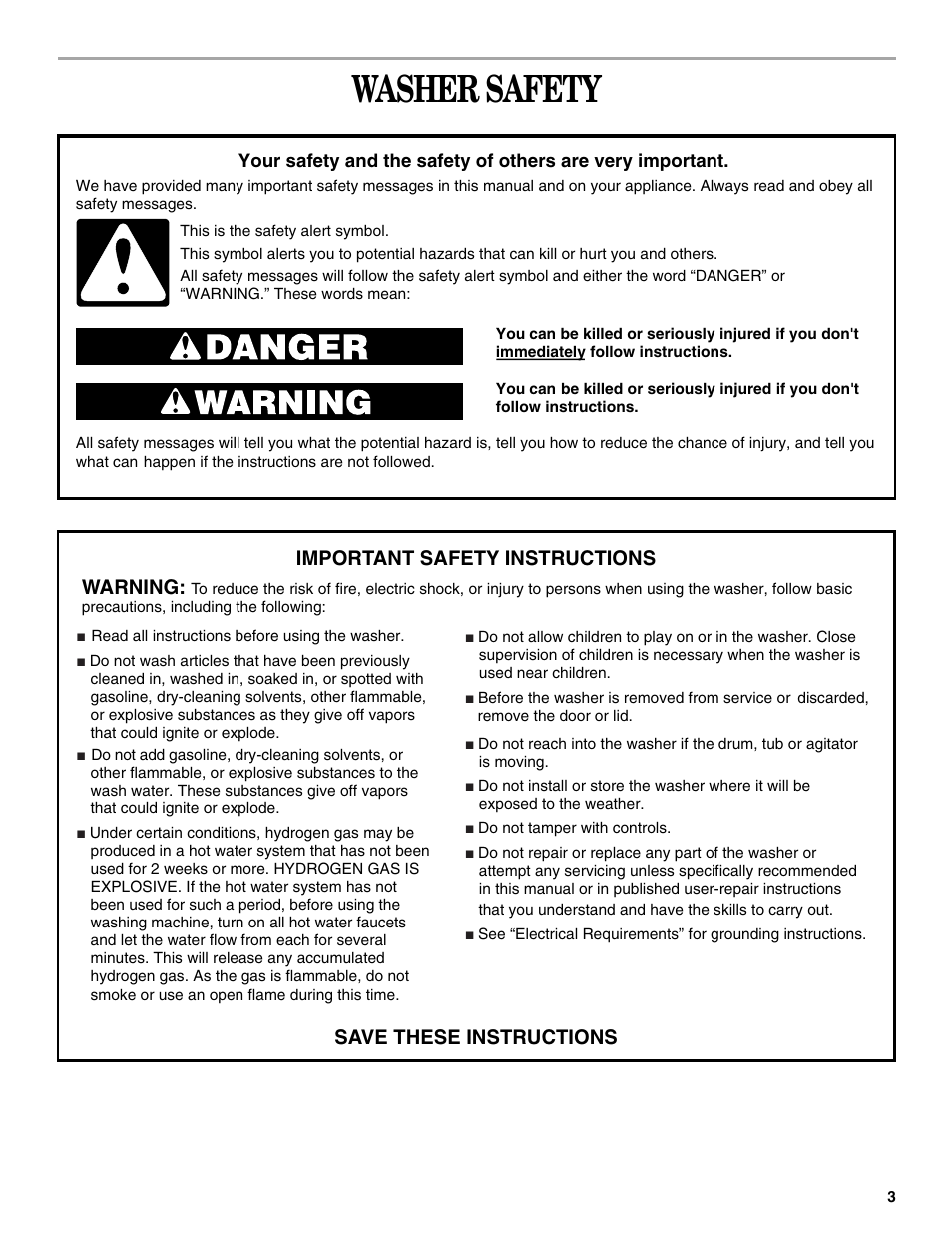 Safety Washer Safety Warning Whirlpool 3955155a User Manual