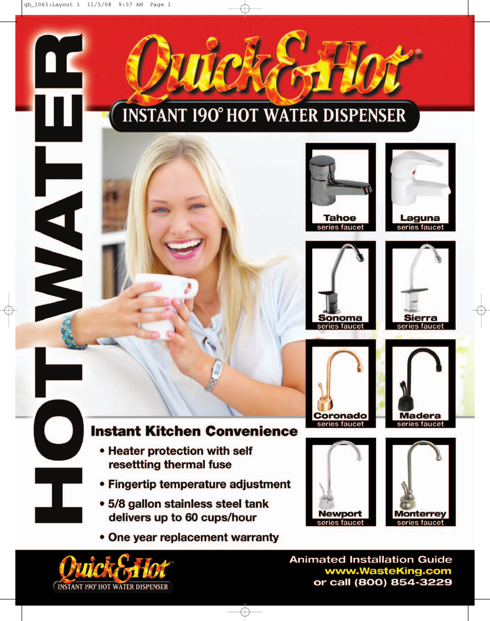 Waste King Quick&Hot Hot Water Dispenser User Manual   2 pages