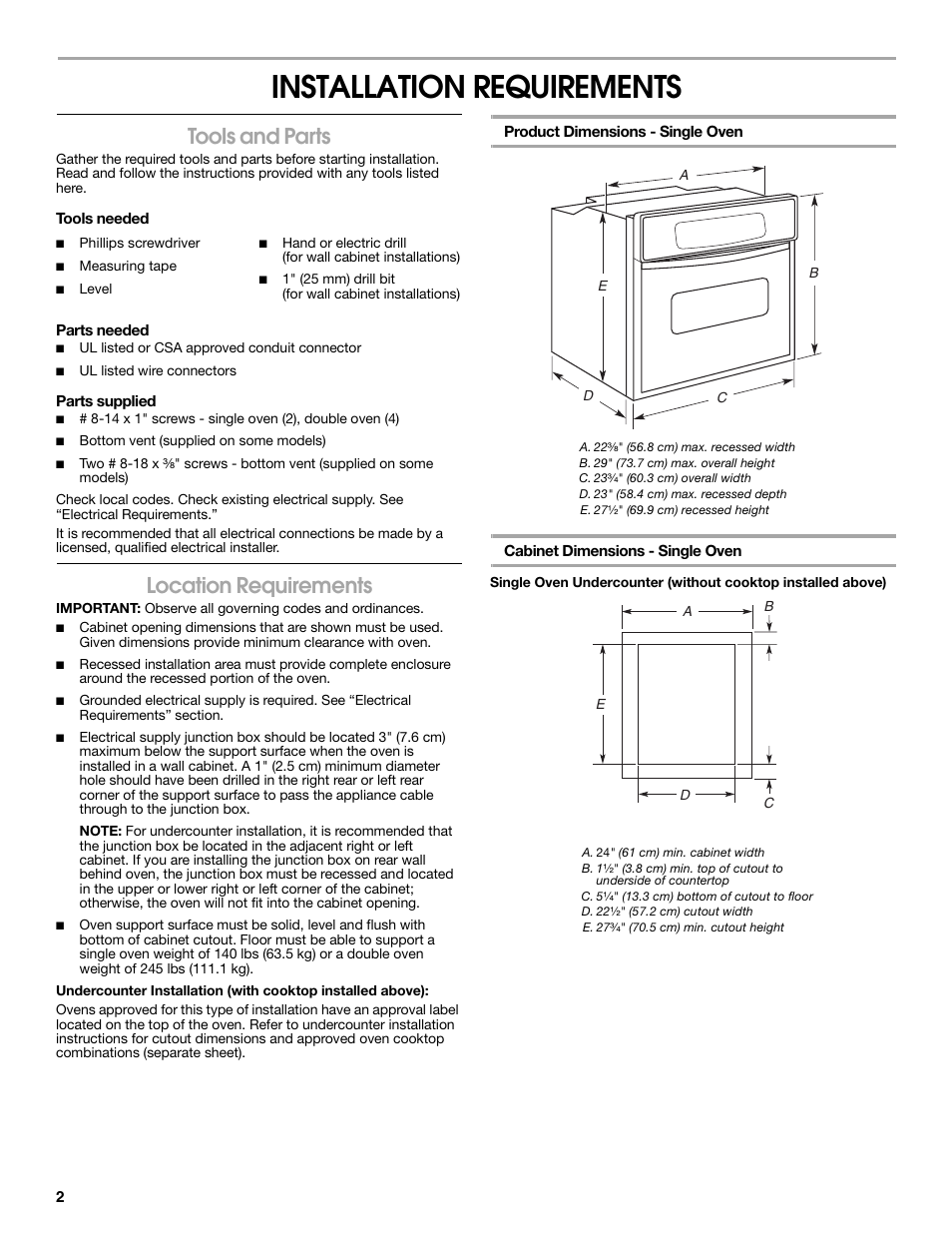 Installation Requirements Tools And Parts Location 4 Wire Electric Stove Wiring Diagram Whirlpool W10045010 User Manual Page 2 8