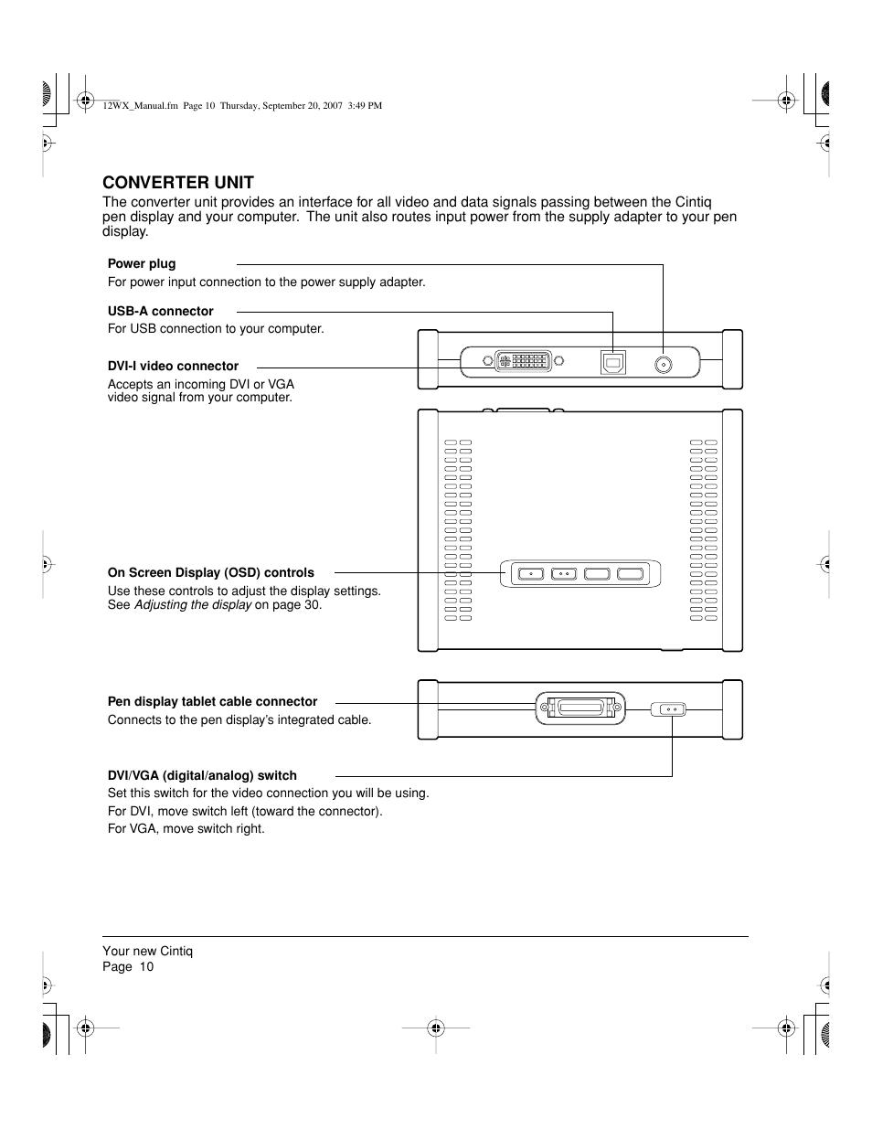 Converter unit | Wacom Cintiq DTZ-1200W User Manual | Page