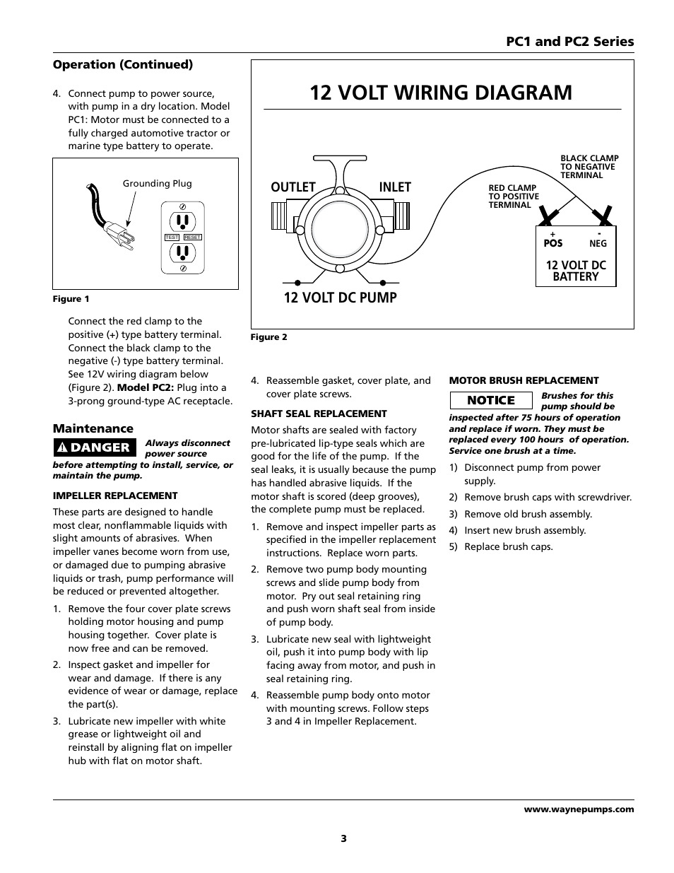 12 volt wiring diagram, 12 volt dc pump, inlet outlet wayne pc2 dc wiring diagram for boats 12 volt wiring diagram, 12 volt dc pump, inlet outlet pc1 and pc2