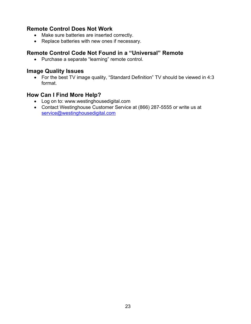 Westinghouse W2602 BK User Manual   Page 25 / 26