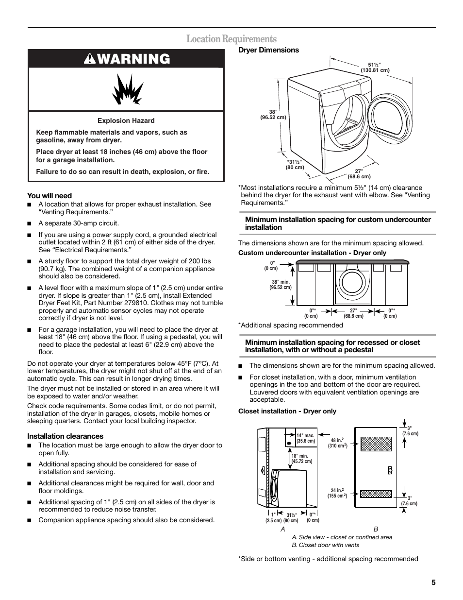 Warning, Location requirements | Whirlpool Duet GEW9250PW0 User Manual |  Page 5 / 28